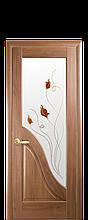 Дверное полотно Амата Золотая ольха со стеклом сатин с рисунком Р1