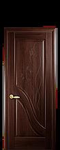 Дверное полотно Амата Каштан глухое с гравировкой