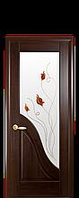 Дверное полотно Амата Каштан со стеклом сатин и рисунком Р1