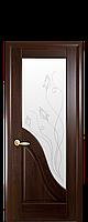 Дверное полотно Амата Каштан со стеклом сатин и рисунком Р2
