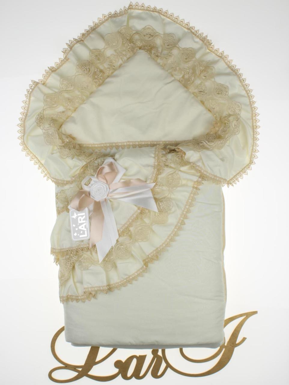 """Демисезонный конверт-одеяло для девочки, """"Луиза"""" кремовый/капучино"""