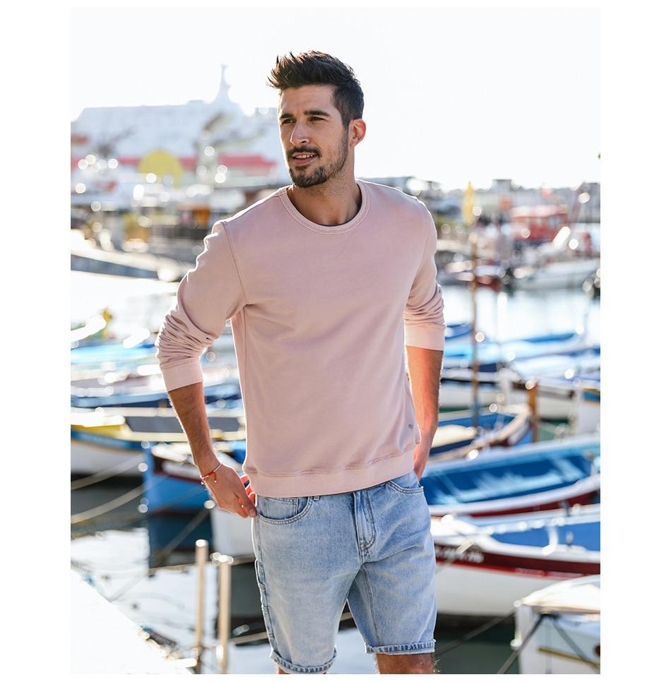 Мужская толстовка свитшот на лето светло-розовая