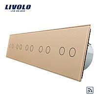 Сенсорный выключатель Livolo на 10 каналов с дистанционным управлением, золото (VL-C710R-13)
