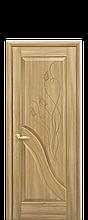 Дверное полотно Амата Золотой дуб глухое с гравировкой