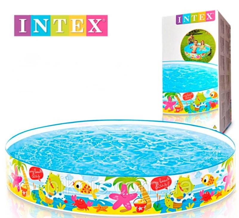 Детский каркасный бассейн Весёлый пляж для детей от 3 лет, 152х25 см, 370л, 1,4 кг. Детский Интекс