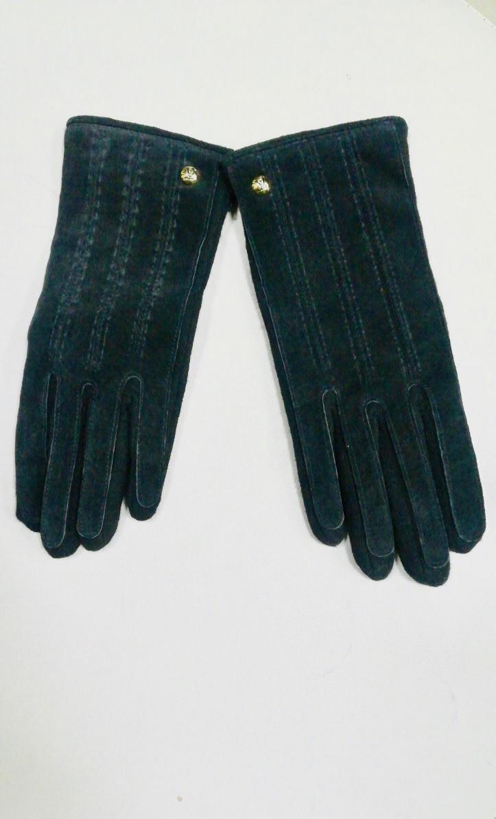 Кожаные комбинированные перчатки LV люкс копия бренда черные