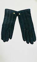 Кожаные комбинированные перчатки LV люкс копия бренда черные, фото 1