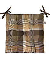 Подушка на стул Прованс 40х40см Toffee коричневая клеточка