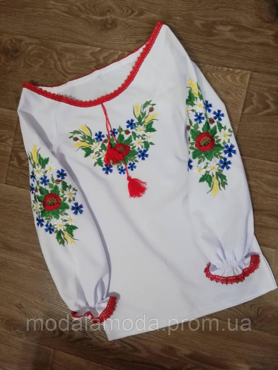 Вышиванка для девочки со цветами