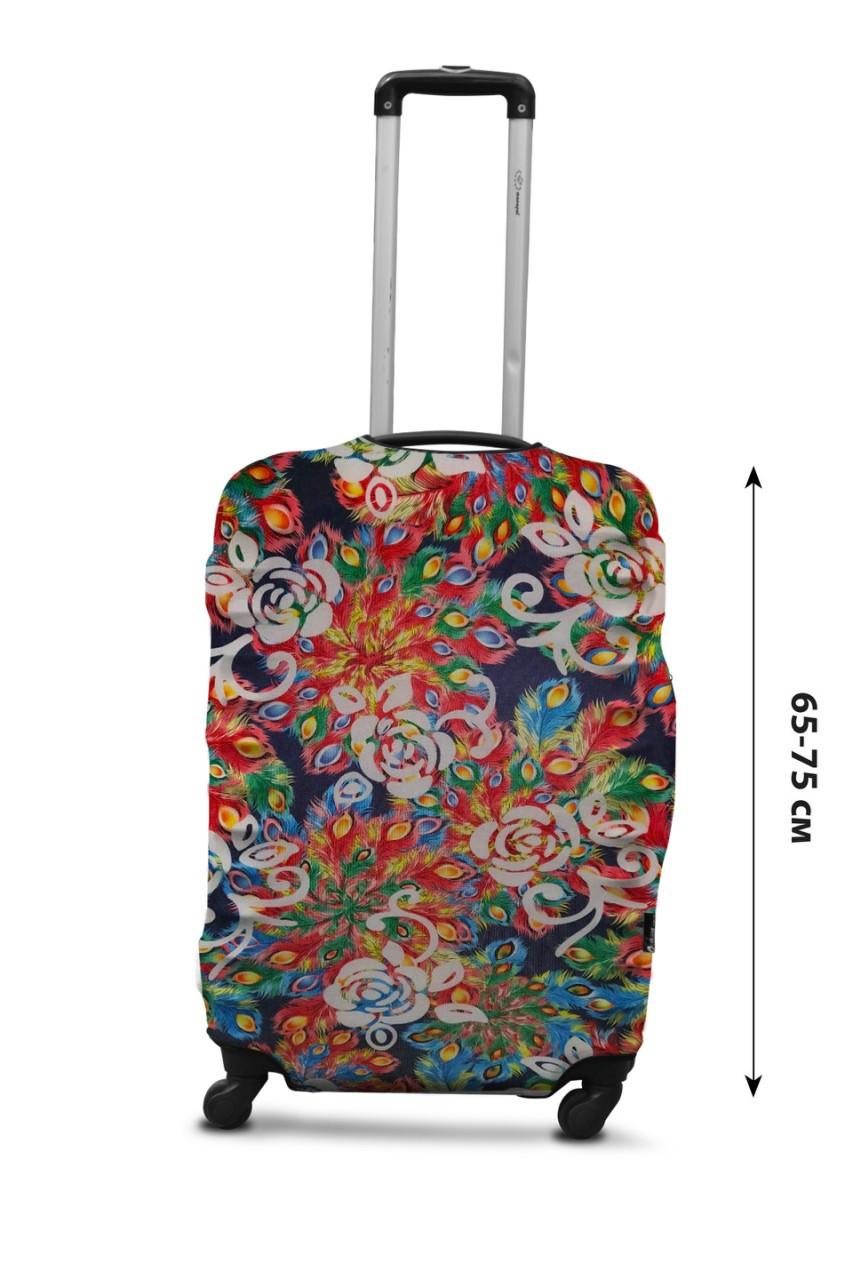 Чехол для чемодана  Coverbag дайвинг L павлин разноцветный