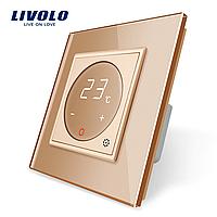 Терморегулятор сенсорний Livolo для водяних систем опалення колір золотий (VL-C701TM-13), фото 1