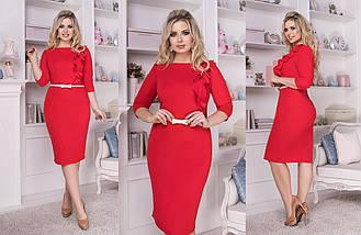 """Классическое платье-футляр """"Hannah"""" с воланом (большие размеры), фото 3"""