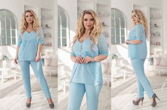 """Летний женский брючный костюм """"Jones"""" с блузой (большие размеры), фото 2"""