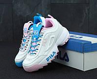 Женские кроссовки Fila Ray (бело-синие), фото 1
