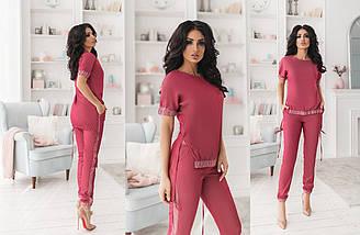 """Джинсовый брючный женский костюм """"Naevia"""" с лампасами (4 цвета), фото 2"""