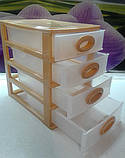 Комод мини однотонный 26х19х27 см. 4 секции(белый ), фото 6