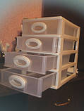 Комод мини однотонный 26х19х27 см. 4 секции(белый ), фото 7
