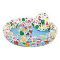 Бассейн надувной + круг + мяч Звёзды для детей от 2 лет, 2 кольца, размер 122х25см. Детский Интекс