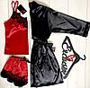 Атласный комплект тройка для дома,черный халат и красная майка с шортами, фото 2
