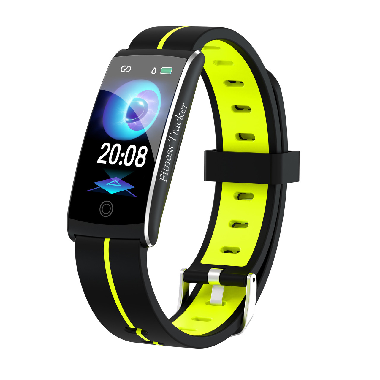 F10C Фитнес браслет тонометр давление крови для iPhone Android трекер пульсометр калории сон бег черно-зеленый