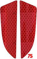 Светоотражающие наклейки на бампер 33х113 мм, отражатель (катафот) на самоклейке - 3M 3432 Красный