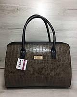 ef7a2b1dd61d Каркасная женская сумка Саквояж кофейный крокодил с черными ручками