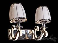 Современное настенное бра на две лампы с стеклянным плафоном 8316/2HR