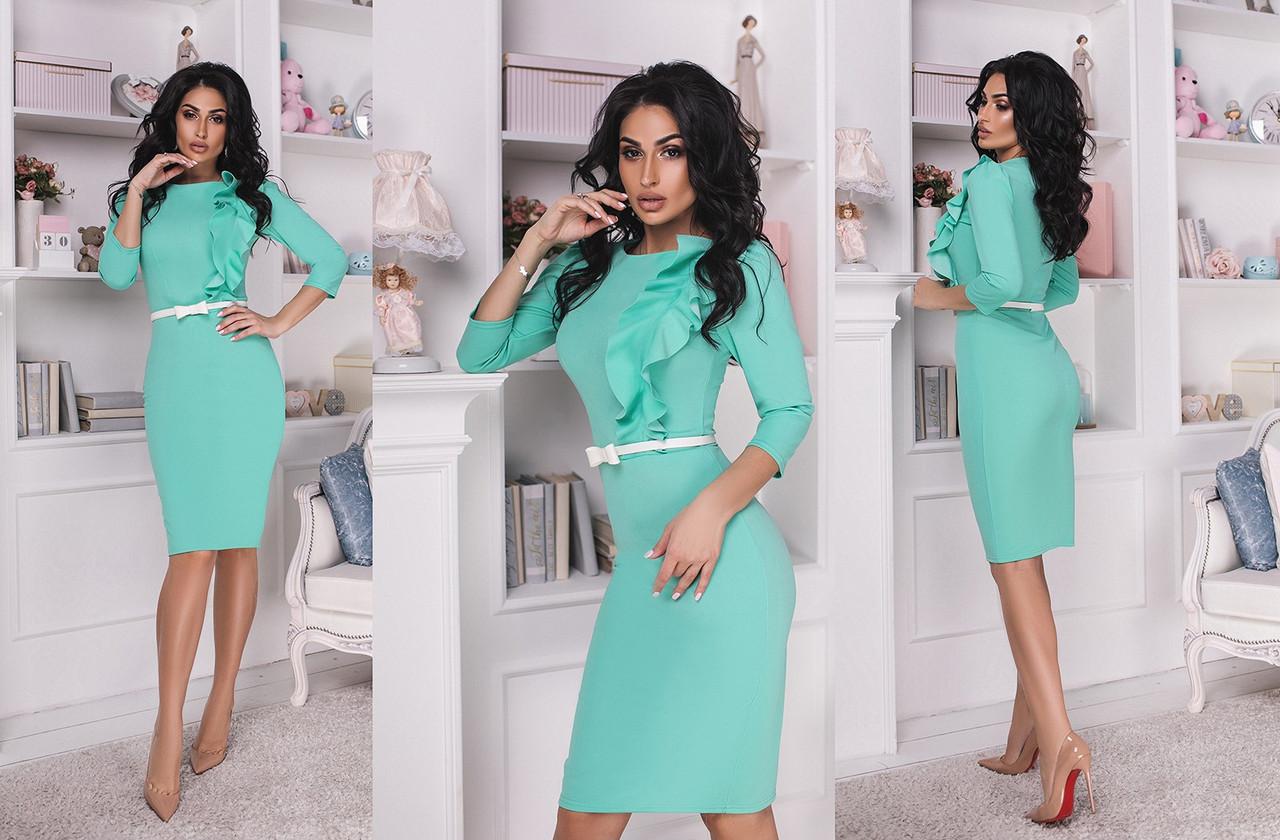 Женское платье украшенное воланом с поясом. Размеры:42,44,46. +Цвета
