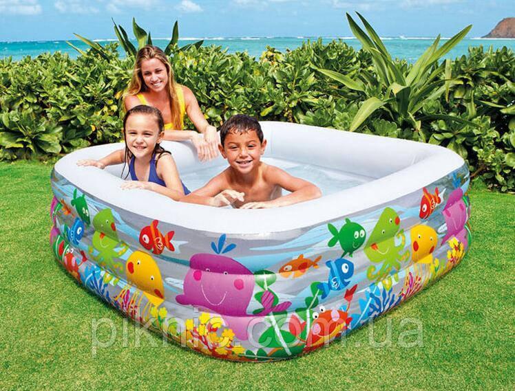 Бассейн надувной Голубая лагуна для детей от 3 лет, размером 159-159-50см, объём: 344л, 3,7кг. Детский Интекс