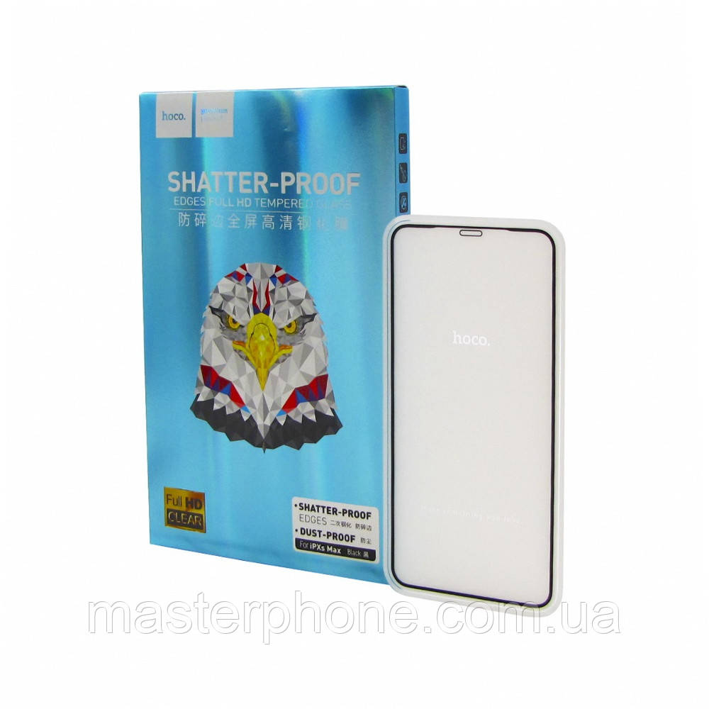 Защитное стекло Hoco для APPLE iPhone XS Max A1 чёрное