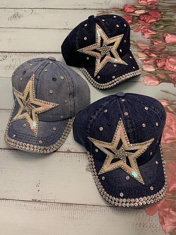 Стильная джинсовая кепка для девочки Звезда, фото 2