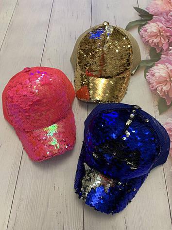 Детская стильная кепка для девочки декорирована пайетками, фото 2