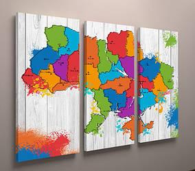 Картина модульная на стену карта Украины цветная 90х60