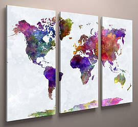 Картина модульная карта мира 90х60