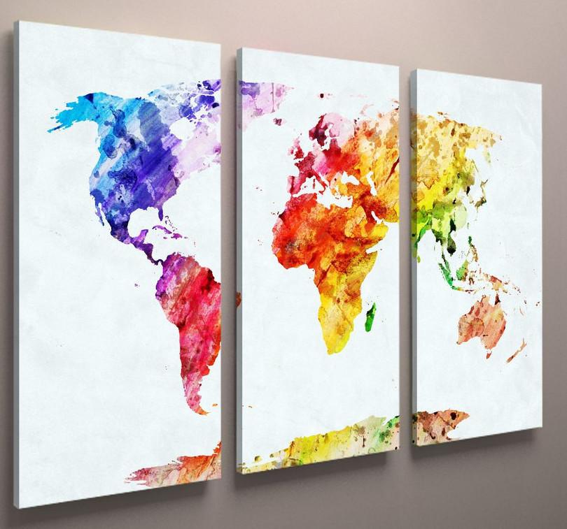Картина модульная на стену карта мира 90х60