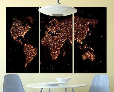 Модульная картина на холсте ночная карта мира 90х60