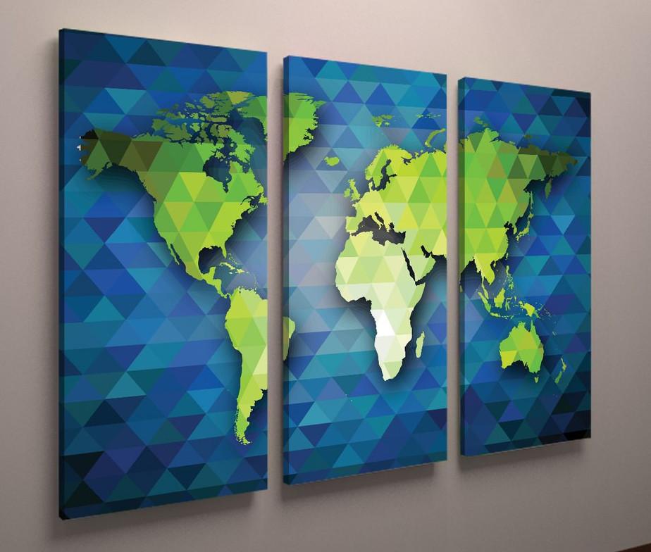 Фотокартина карта мира 90х60