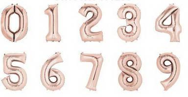 Шары цифры розовое золото 35 см.