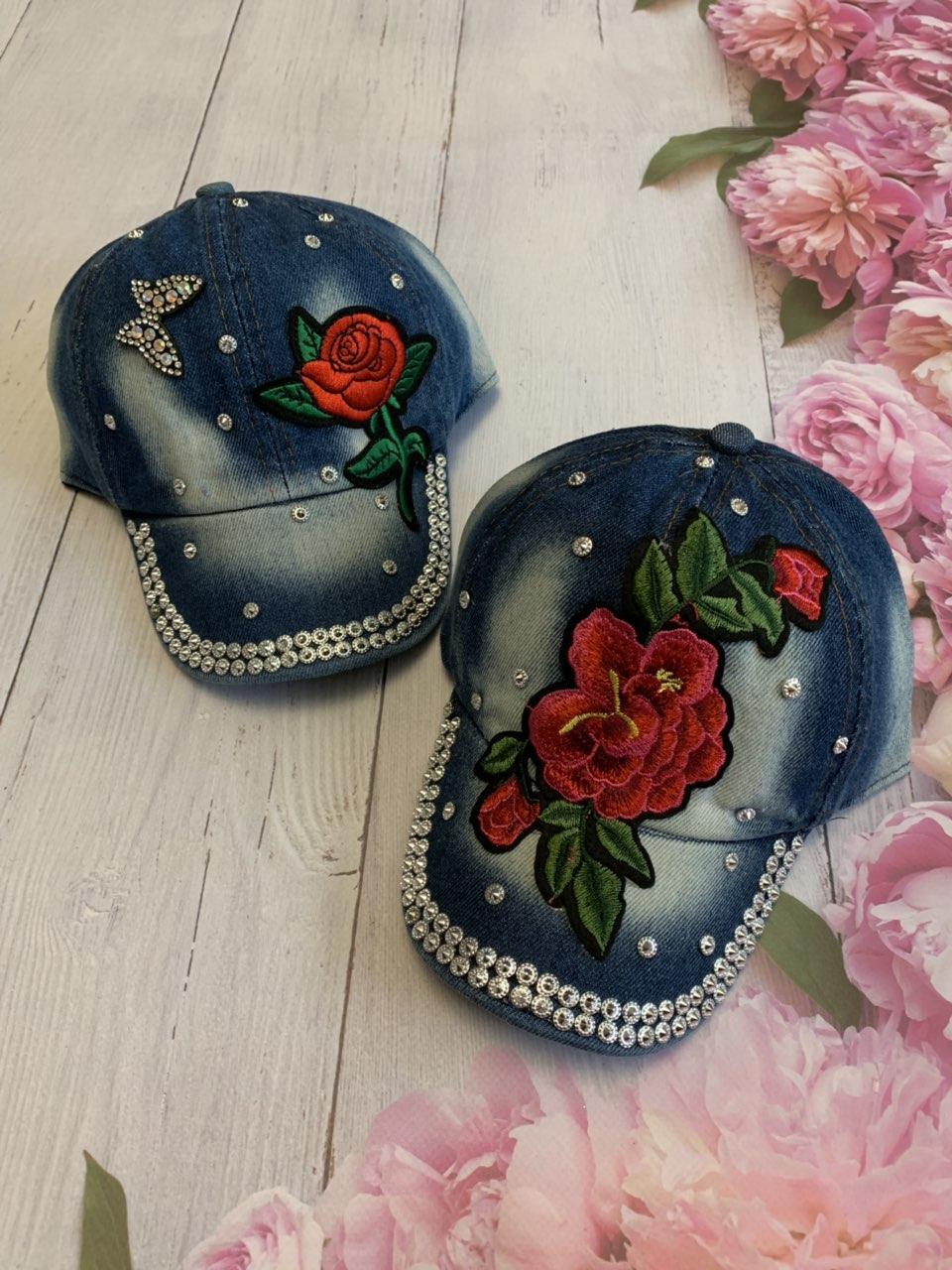 Джинсовая кепка для девочки Роза р.50-52