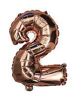 """Шар цифра """"2"""". Цвет:Розовое золото. Размер: 35см."""