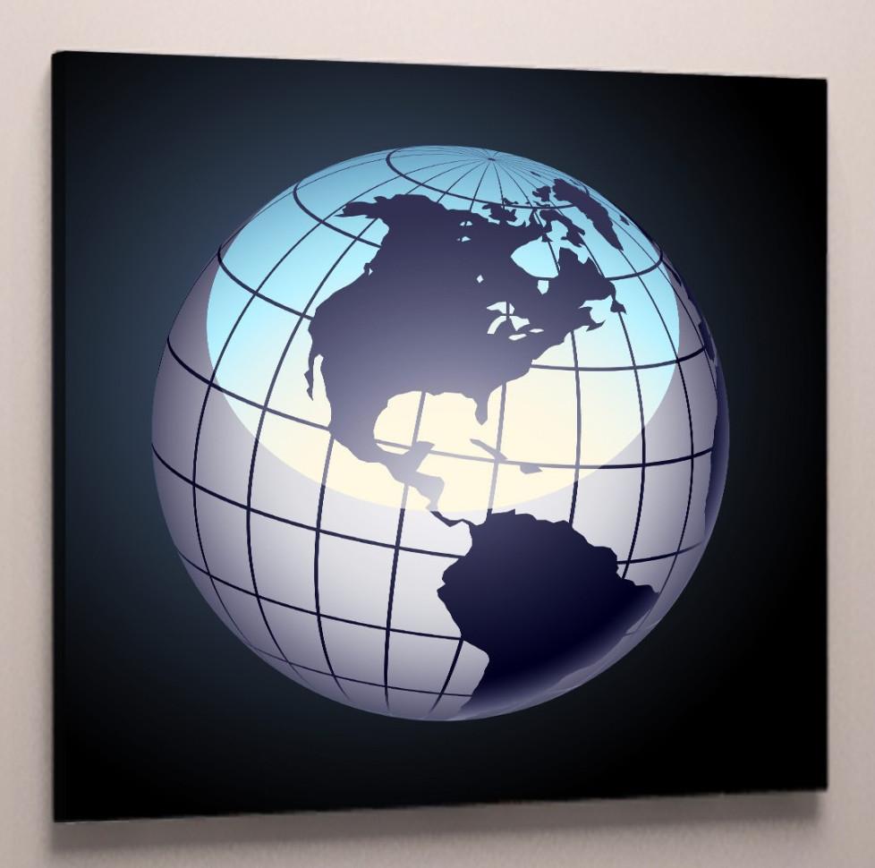 Картина карта мира глобус 50х50
