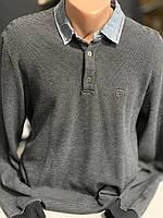 Hedricy. Чоловіча тепла кофта -поло. Темний з джинсовим комірчиком.Туреччина.Розмір - L(50-52)