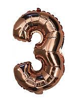 """Шар цифра """"3"""". Цвет:Розовое золото. Размер: 35см."""