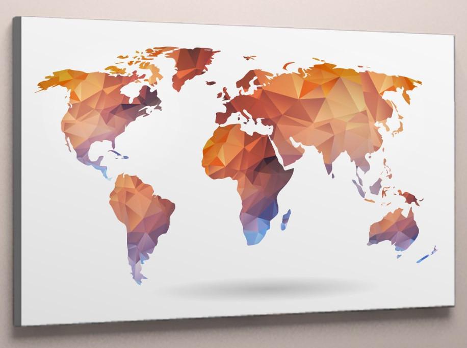 Картина карта мира 60х40