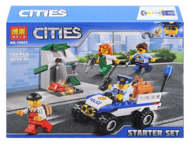 """Конструктор Bela 10653 """"Набор для начинающих Полиция"""" 104 деталей. Аналог LEGO City 60136"""