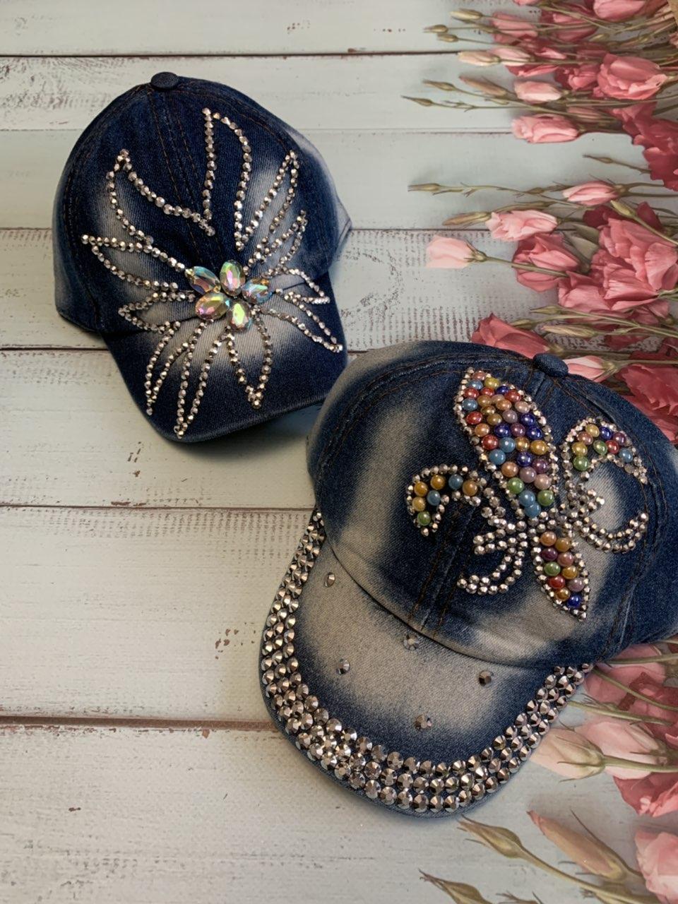 Джинсовая модная кепка для девочки Цветок р.50-52