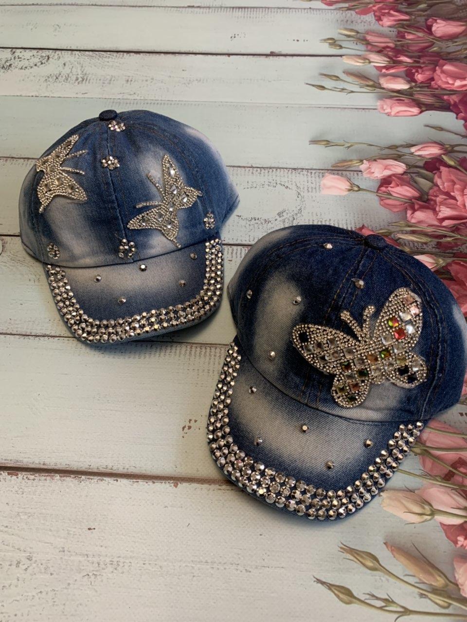 Джинсовая модная кепка для девочки Бабочка р.50-52