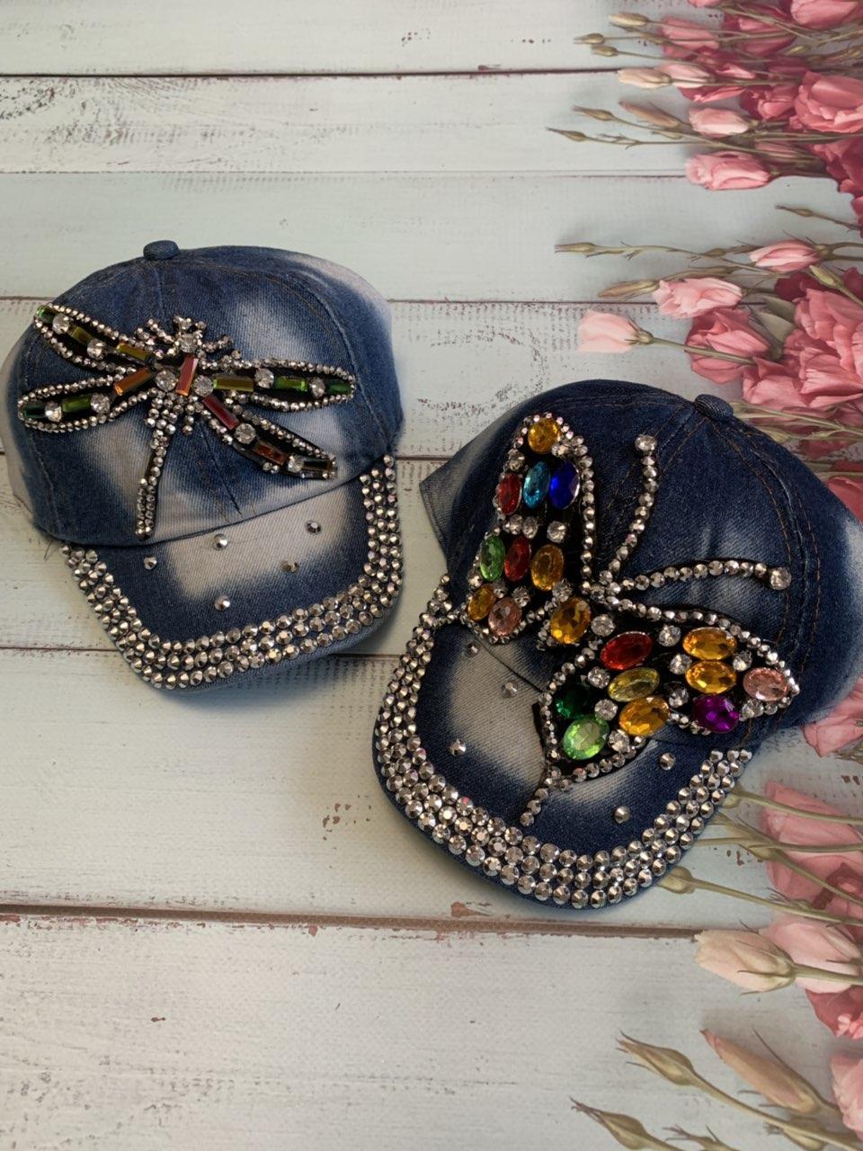 Детская джинсовая кепка для девочки Бабочка р.50-52