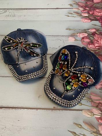 Детская джинсовая кепка для девочки Бабочка р.50-52, фото 2