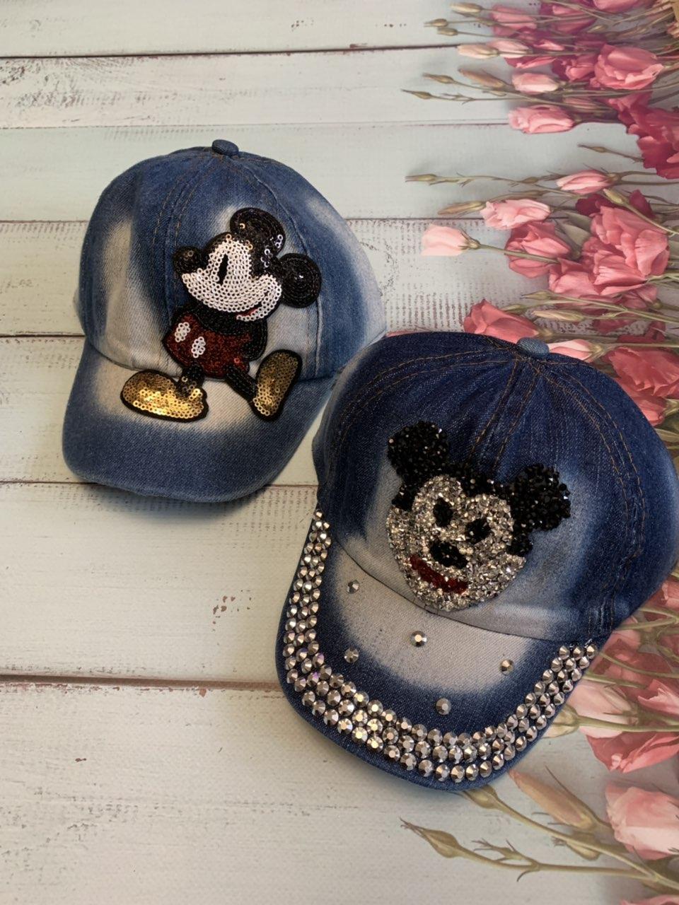 Детская джинсовая кепка для девочки Микки Маус р.50-52